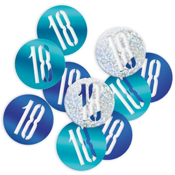 Happy Birthday - Glitzerkonfetti, Zahl 18, blau/silberne Deko