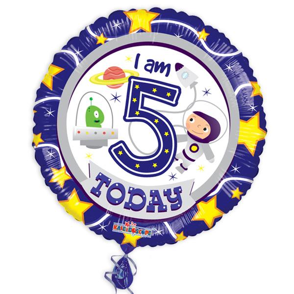 "Folienballon ""I am 5 today"" mit Weltall-Motiv"