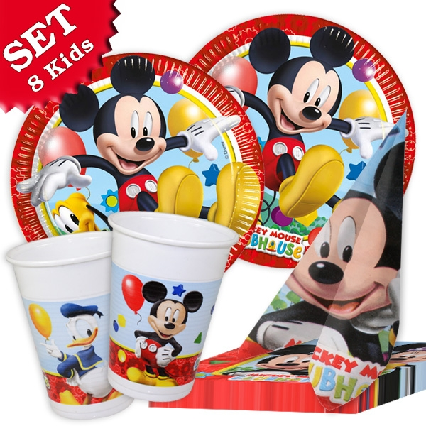 Mickey Maus Set mit Partygeschirr und Servietten für 8 Kinder, 36-tlg.
