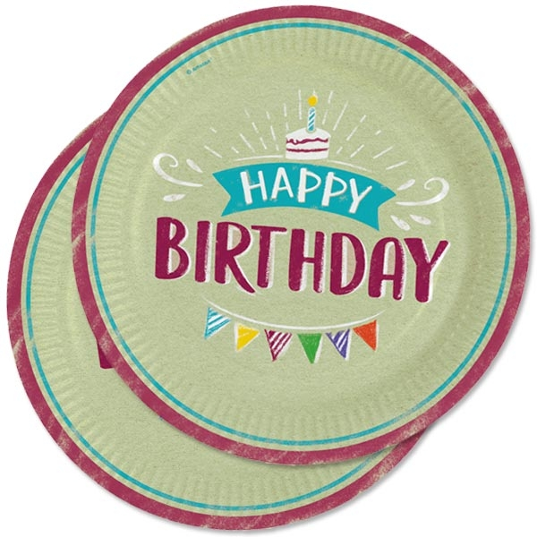 """""""My Happy Birthday"""" Pappteller 8er Pck, 23cm, Partyteller"""