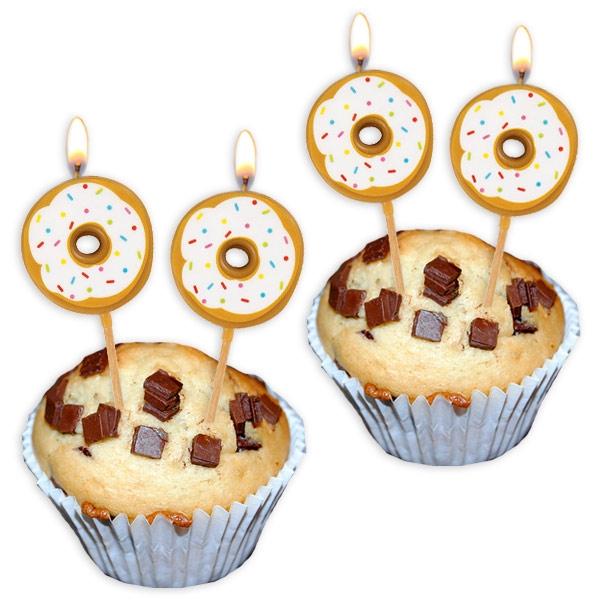 Donut-Geburtstagskerzen aus Wachs für Muffins im 6er Pack, 7,5 × 3 cm