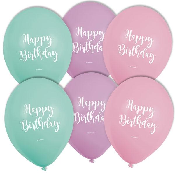 Pastell Luftballons, Happy Birthday, 6 Stk, Ø22,8cm