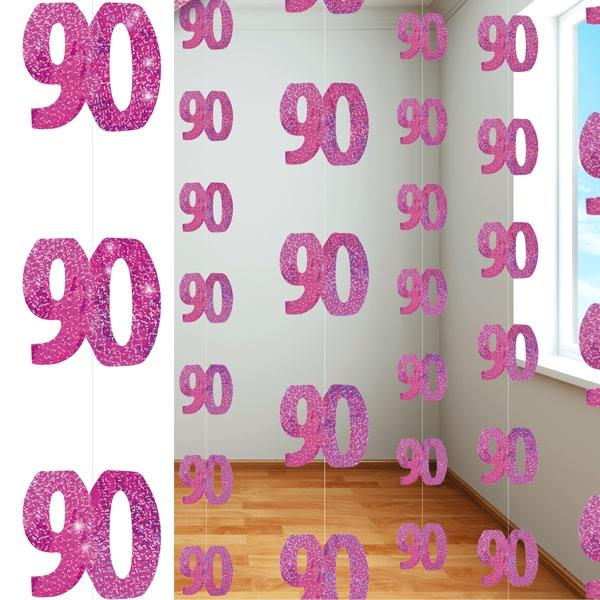 Glitzer-Deko, Zahl 90, in Pink, 6-teilig, je 152,4cm lang