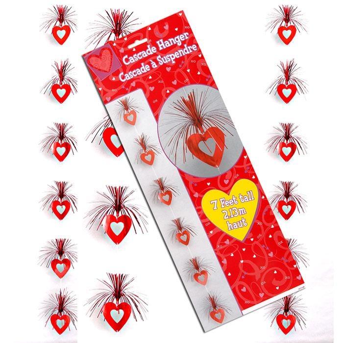 Love-Party Herz-Kaskade 2,13m, Herzchen zur Raum-Dekoration, f. Valentinstag Hochzeit Liebe