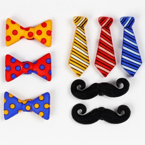Motivknöpfe - Krawatten, Schnurrbärte und Schleifen, insg. 10 Stück, 1cm bis 2,5cm