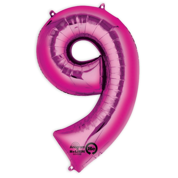 "Folienballon  Zahl ""9"" - Pink,  63 x 86 cm"