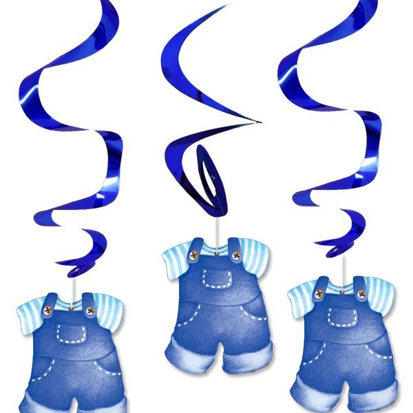 Dekospiralen Set Baby Boy, 3er Pck, mit glänzenden Metallicspiralen