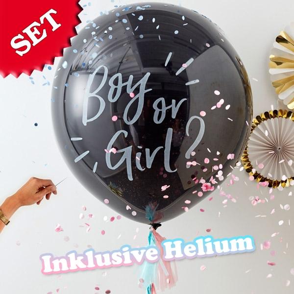 """Ballongas-Set """"Boy or Girl?"""" 20er Heliumgas + XXL Ballon"""