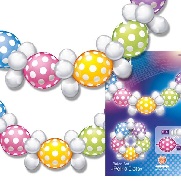 Ballongirlande mit hübschen Punkten inkl. kleine weiße Ballons, 1,75m