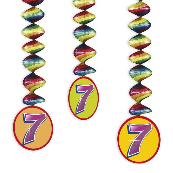 "Rotor-Spiralen, Zahl ""7"", Regenbogen-Farben, 3 Stück"