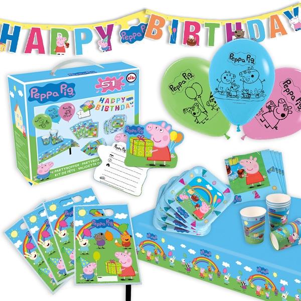 Peppa Pig Partykoffer, 51-teilig für 6 Kinder