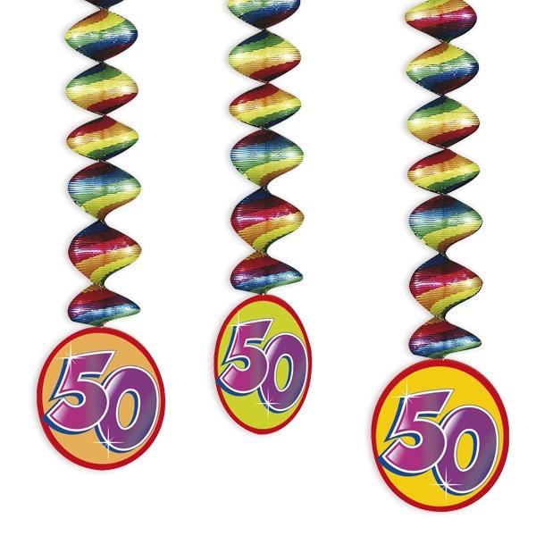 "Rotor-Spiralen, Zahl ""50"", Regenbogen-Farben, 3 Stück"