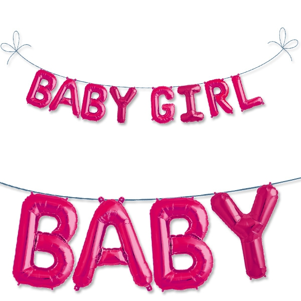 Mini Folieballon-Set Baby Girl in Pink zur Mädchen-Geburt, mit Ösen