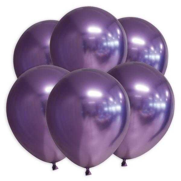 Lila Luftballons mit Spiegeleffekt, 10 Stk., 30cm
