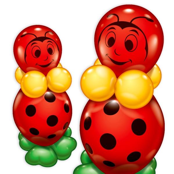 Marienkäfer Ballonset, 60cm, zum Basteln von 2 Marienkäfer-Figuren