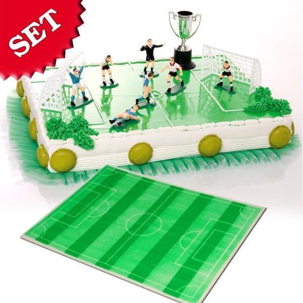 Fußballparty Tortendeko-Set, Zuckergussauflage u. Figurenset