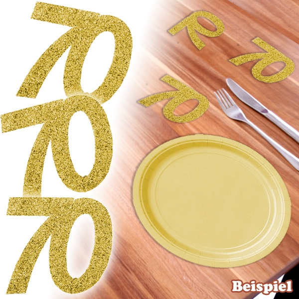 Glitterzahlen in gold, Zahl 70, 6 Stk