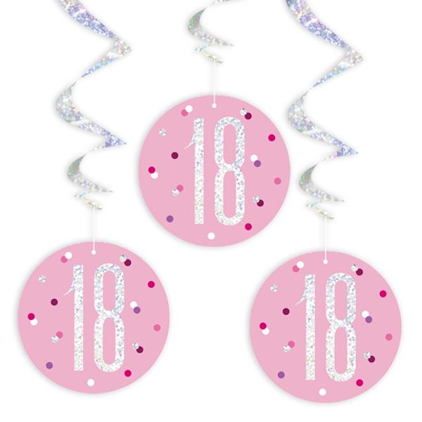 Glitzer-Spiralen, Zahl 18, in Pink, 6-teilig