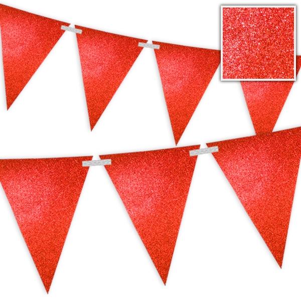 Wimpelkette Rot mit Glitzer - 6 Meter 1 Stk