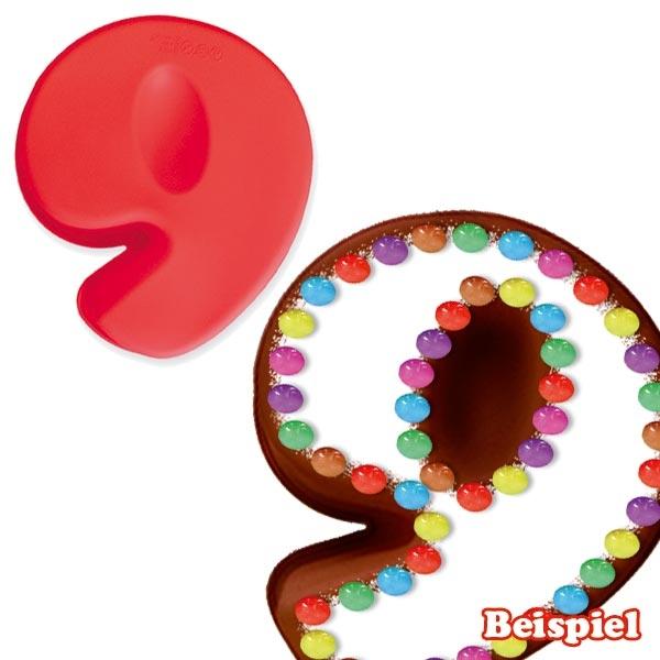"""Zahlen Backform """"9"""" aus Silikon für Kuchen zum 9. Kindergeburtstag"""