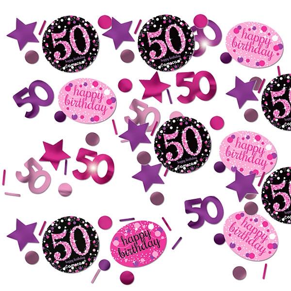 Sparkling Celebr. Konfetti 50. Geburtstag, 34g, pink-schwarz