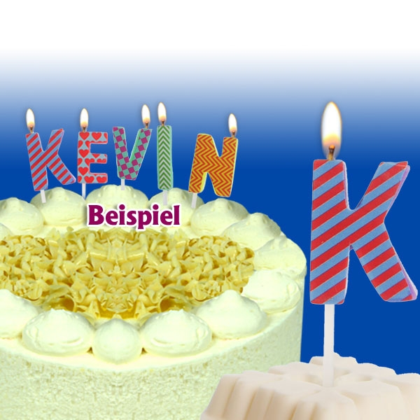 Mini Kerze Buchstabe K, 2,5 cm, für personalisierte Geburtstagstorte