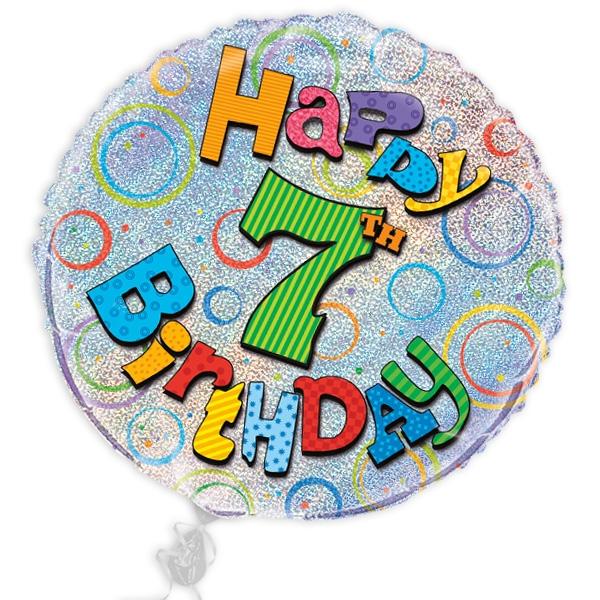 "Folienballon ""Happy 7th Birthday"", prismatischer Heliumballon, Ø 45cm"