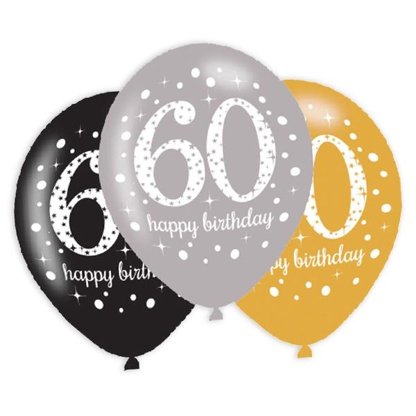 Latexballons 60. Geburtstag, 6er Pack, 27,5cm