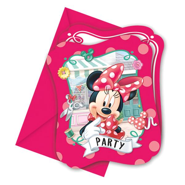 8 Minnie Maus Einladungen für Kindergeburtstag inkl. Umschläge