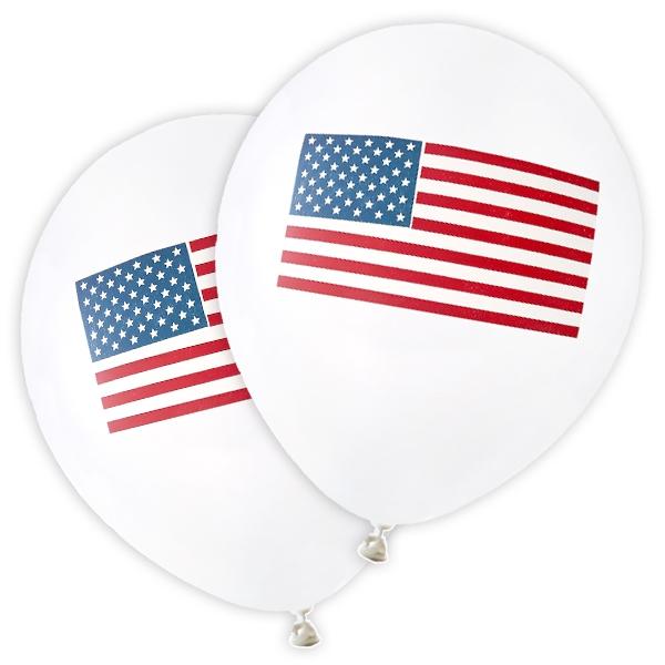 USA Luftballons mit USA-Flagge Stars and Stripes, 8 Stk., Latex, 23cm