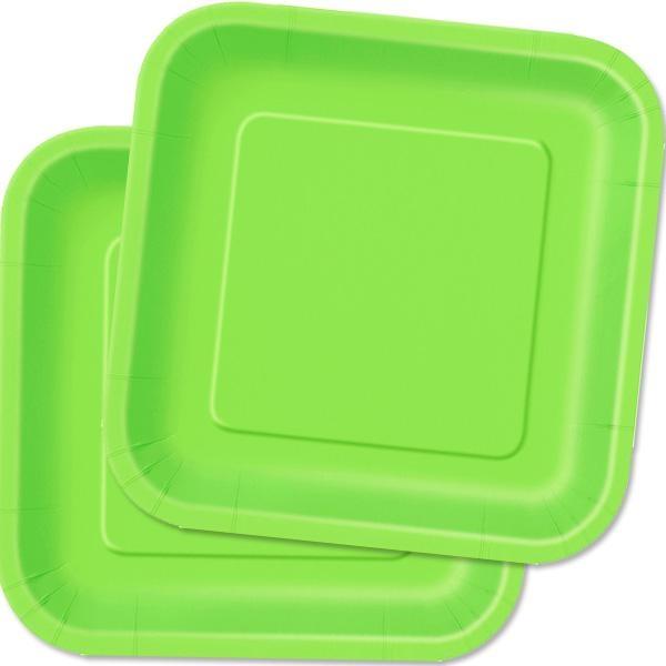 Teller limettengrün eckig 14 Stück, quadratische Einwegteller, 23 cm