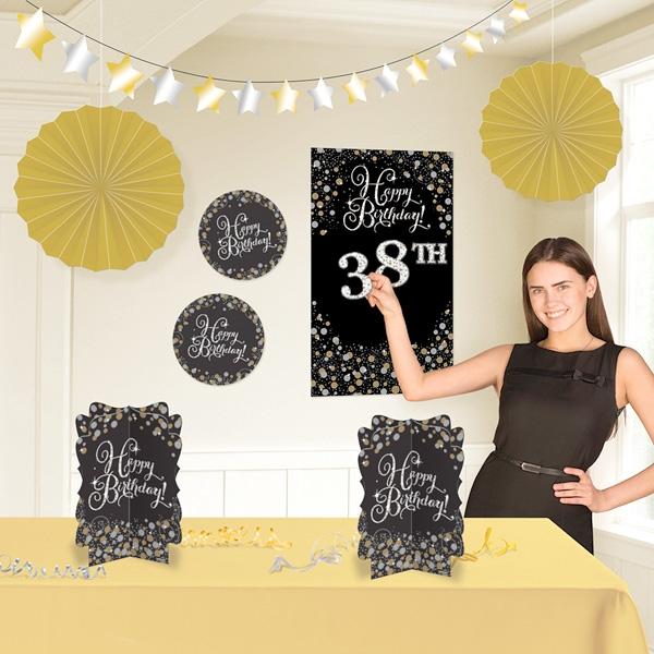 Glamour Deko-Set golden/schwarz für Raumdeko zur Geburtstagsfeier