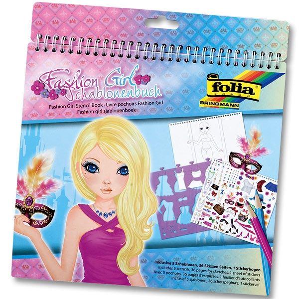 Schablonenbuch Fashion Girl: Sticker, Schablonen,Vorlagen, 26 × 28 cm