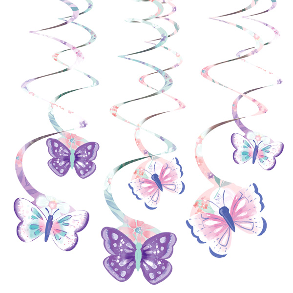 "6 Deko-Spiralen ""Butterfly"", 14cm x 10cm"
