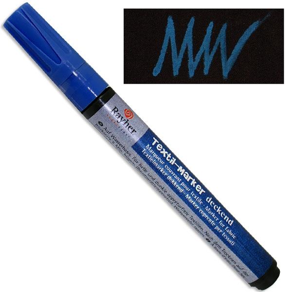 Textil-Marker deckend, azurblau, Rundspitze 2-4 mm, mit Ventil