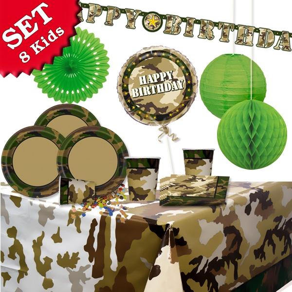 Tarnfarben Kinderparty Deko-Set 39-tlg., Dekoration Camouflage Kinder-Geburtstag