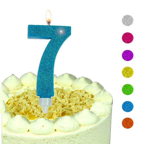 Zahlenkerze 7, große Glitzerkerze, 9,5 × 5,5 cm, hübsche Geburtstagskerze