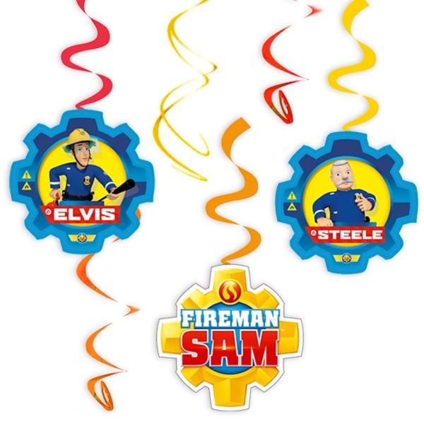 Feuerwehrmann Sam, Spiralen, 6 Stk. Hängedeko für Feuerwehrparty