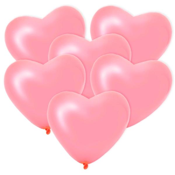 Rosa Herzballons, 6 Stück, 25 cm
