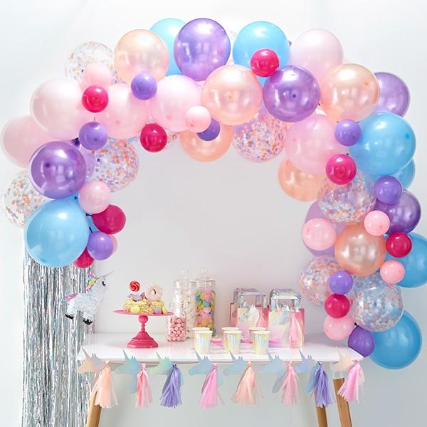 Ballongirlande mit 70 Ballons in pastellfarben