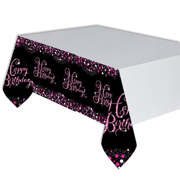 Sparkling Celebration Tischdecke in pink-schwarz, Happy Birthday, 1,37m x 2,59m