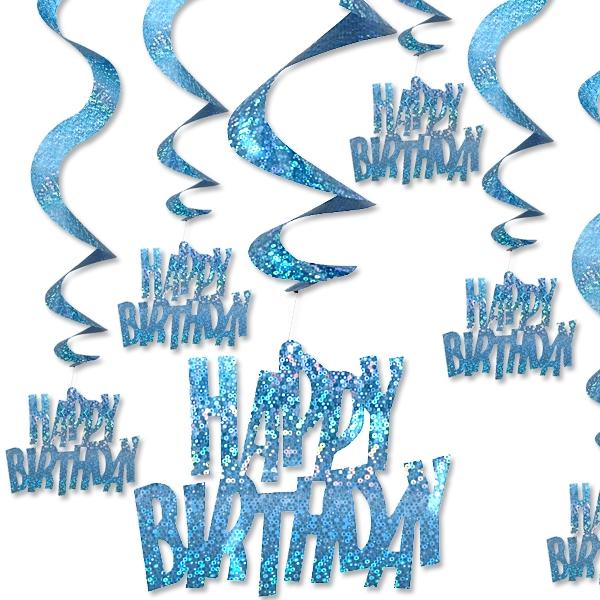 Glitzernde Happy Birthday Hängedeko, Metallicfolie, blau, 6-teilig