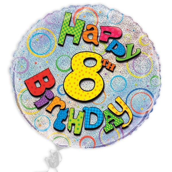 "Folienballon ""Happy 8th Birthday"", prismatisch, Ø 45cm"