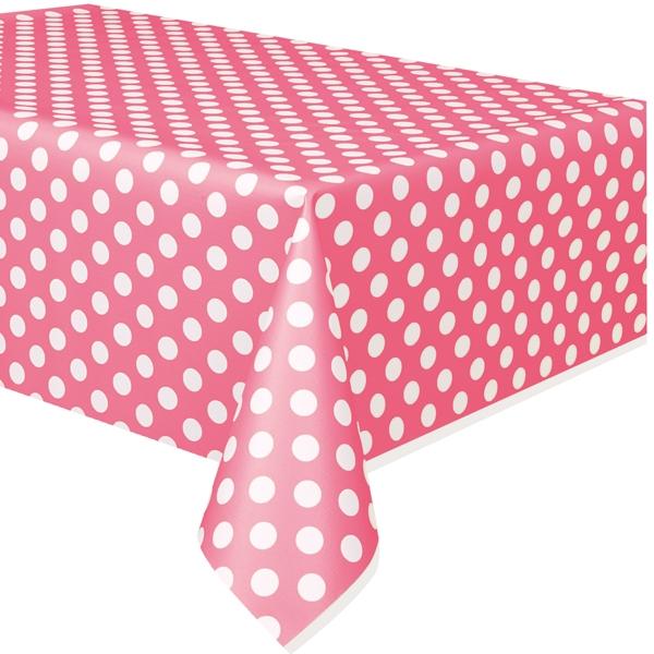 rosafarbene Tischdecke mit weißen Punkten aus Kunststofffolie 1,4×2,7m