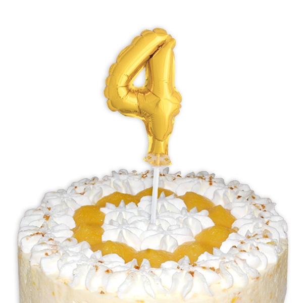 "Mini-Ballon Tortendeko, Zahl ""4"" für Torte zum 4. od. 40. Geburtstag, 1 Stk."