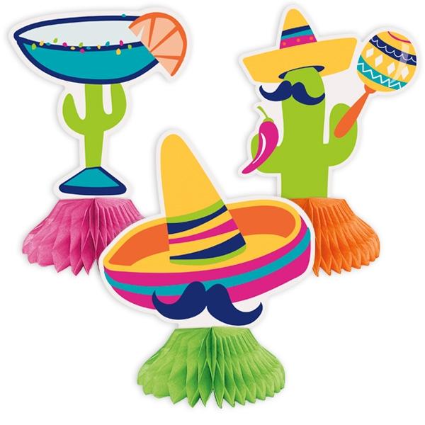 """Fiesta"", Waben-Tischdekoration, 3 Mexikaner mit Sombreros, Pappe"