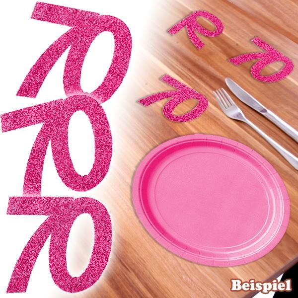 Glitterzahlen in pink, Zahl 70, 6 Stk