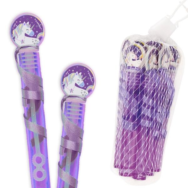 Einhorn Seifenblasen Flacon, 8 lila Seifenblasenfläschchen, 11cm