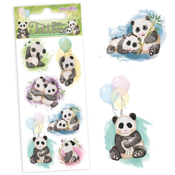 Panda Tattoos mit Glitzer-Effekt, Einmaltattoos für Kinder, 1 Karte