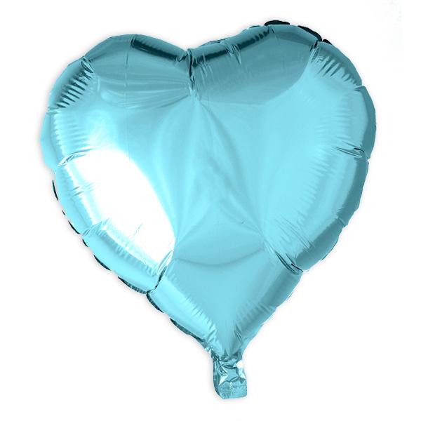 Herz-Folienballon hellblau, 35 cm
